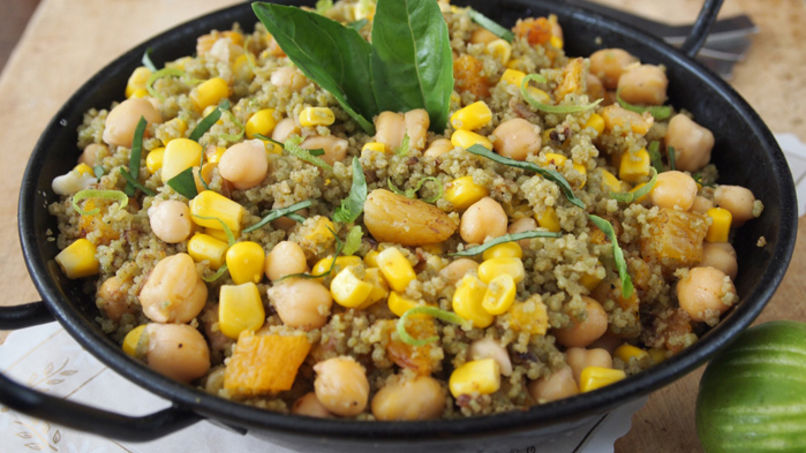 Couscous Verde con Vegetales y Albaricoques Secos
