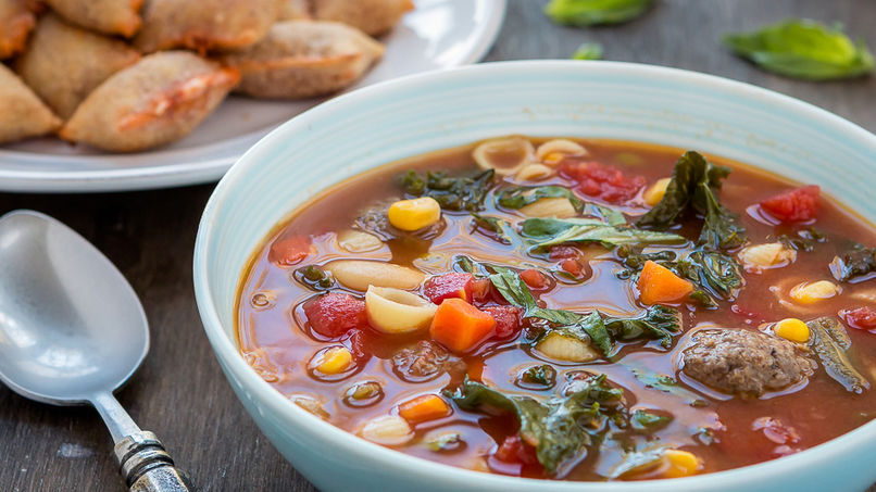 Quick and Easy Minestrone Soup with Meatballs