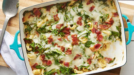 Cheesy Bacon and Spinach Tortellini Casserole
