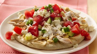 Open-Face Chicken Pitas