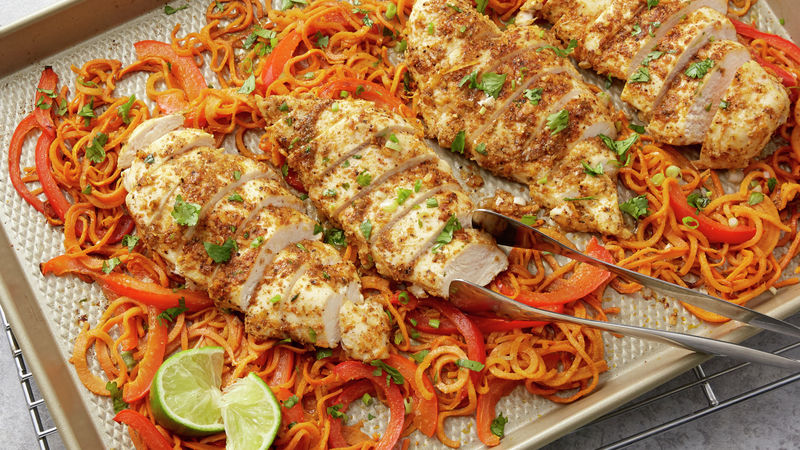 Sheet-Pan Mexican Chicken with Sweet Potato Spirals