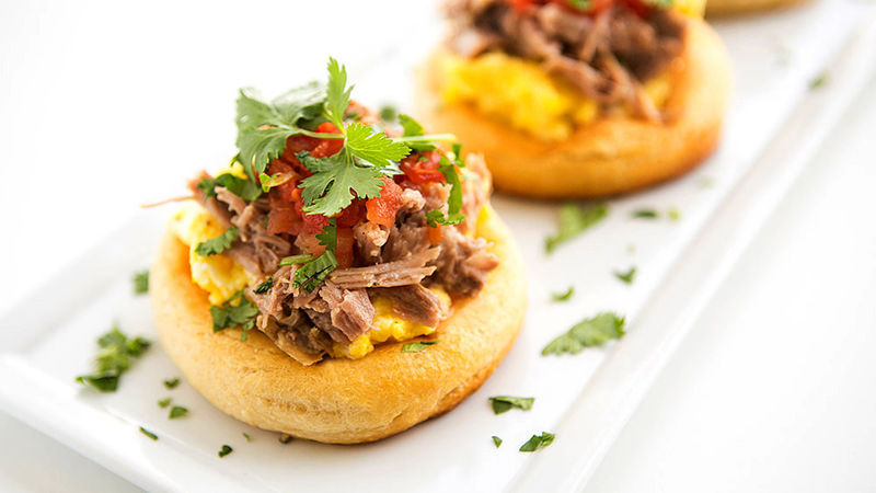Huevos-Carnitas Breakfast Biscuits