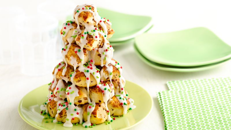 Stacked Cinnamon Roll Christmas Tree