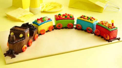 Magnificent Train Cake Recipe Bettycrocker Com Personalised Birthday Cards Veneteletsinfo