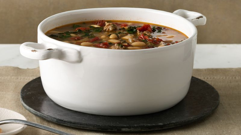 Sausage, White Bean and Kale Soup Recipe - BettyCrocker.com