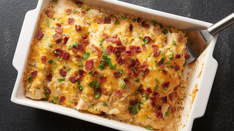 Creamy Bacon and Egg Breakfast Enchiladas