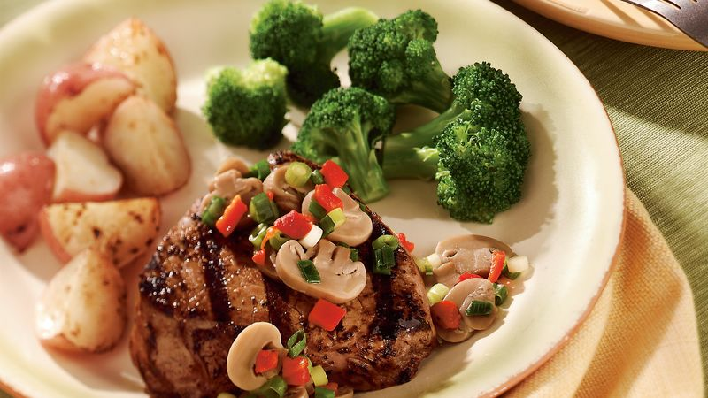 Mushroom and Onion-Topped Steak