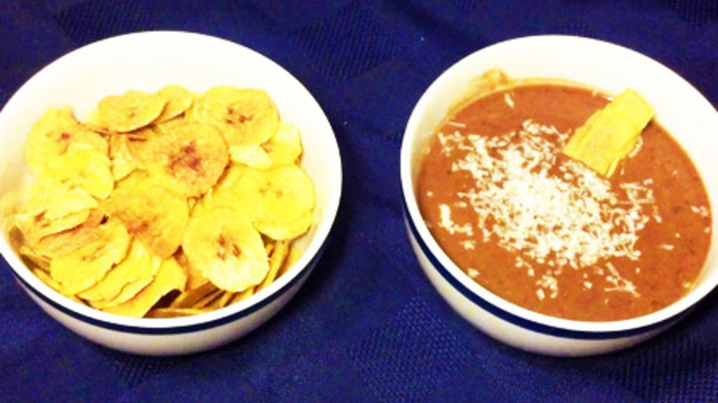 Plantain Chips and Black Bean Dip