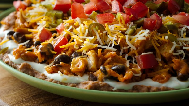 Seven Layer Chicken Enchilada Dip