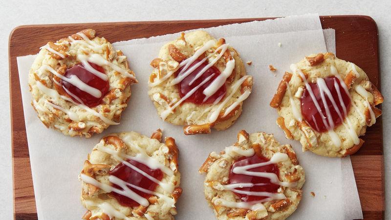 Strawberry Pretzel Thumbprint Cookies