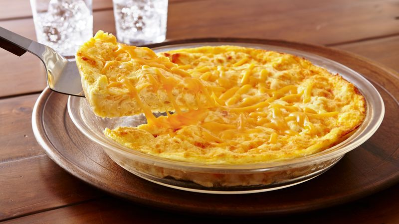 Impossibly Easy Mac n Cheese Pie