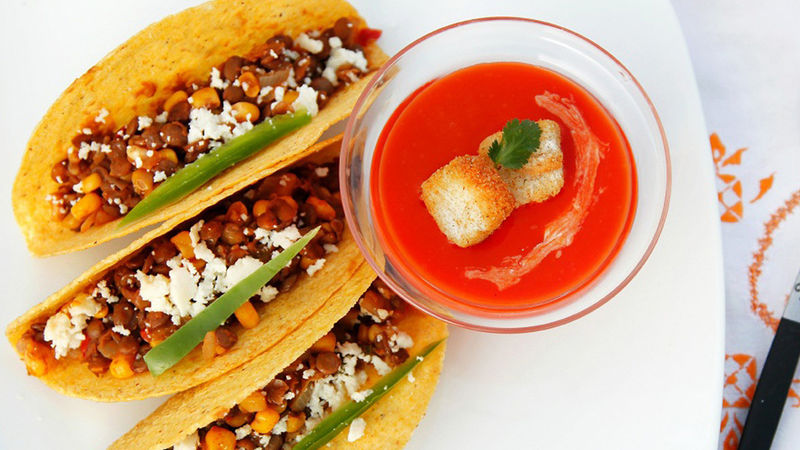 Lentil Tacos with Grilled Red Bell Pepper Soup