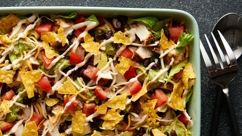 Layered Grilled Chicken Taco Salad