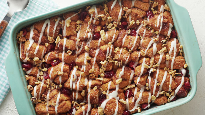 Cranberry-Walnut Cinnamon Roll Breakfast Bake