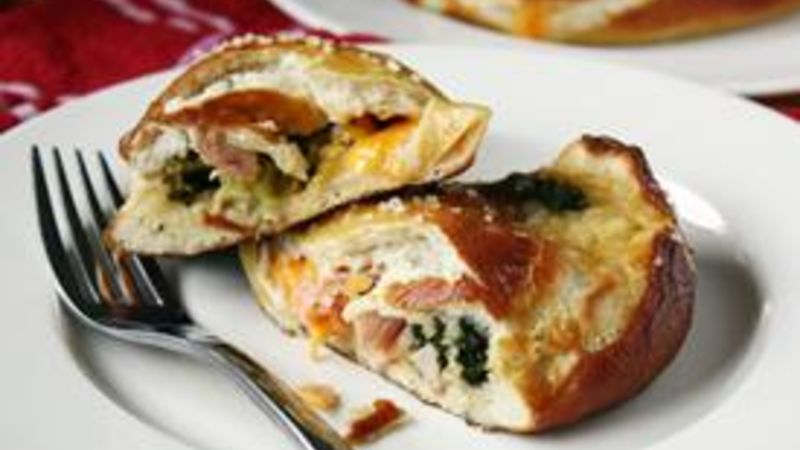 Ham And Cheddar Stuffed Pretzel Calzones Recipe Tablespooncom