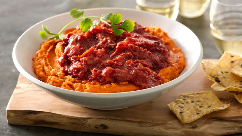 Middle Eastern Tomato Salsa over Roasted Sweet Potato Carrot Hummus