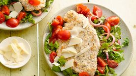 Skinny Chicken Milanese with Balsamic Arugula Salad