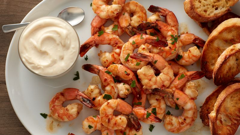 Broiled Garlic Butter Shrimp With Lemon Aioli Recipe Bettycrocker Com