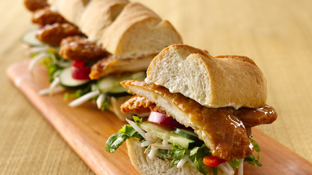 Asian-Inspired Crunchy Honey-Chicken Sub with Ginger Mayonnaise