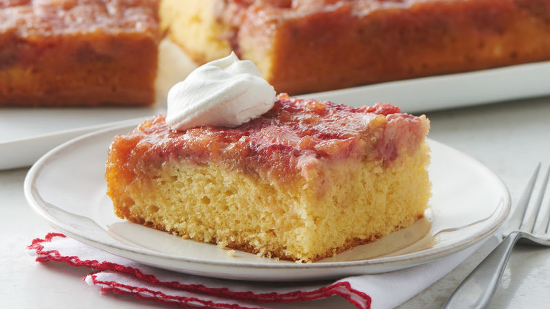 Strawberry Rhubarb Upside Down Cake Recipe Bettycrocker Com