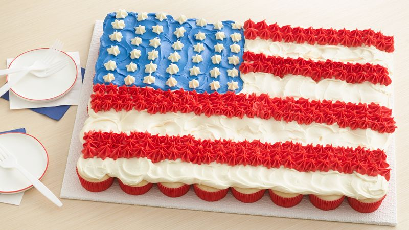 Fourth of July Cupcake Flag Cake
