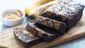 Peanut Butter-Brownie Mix Banana Bread