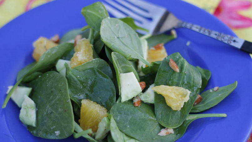 Spinach Salad with Tangelo Citrus Fruit