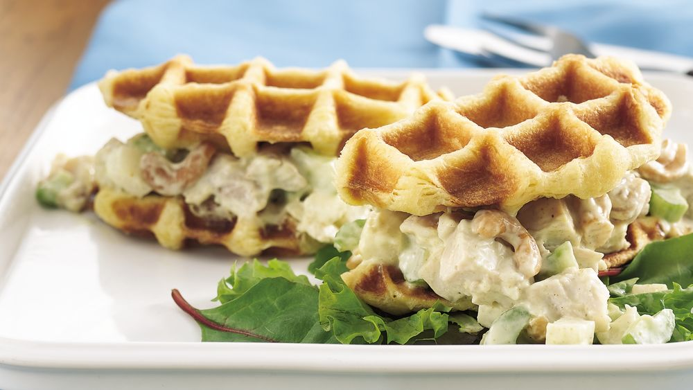 Curried Chicken Salad Waffle Sandwiches