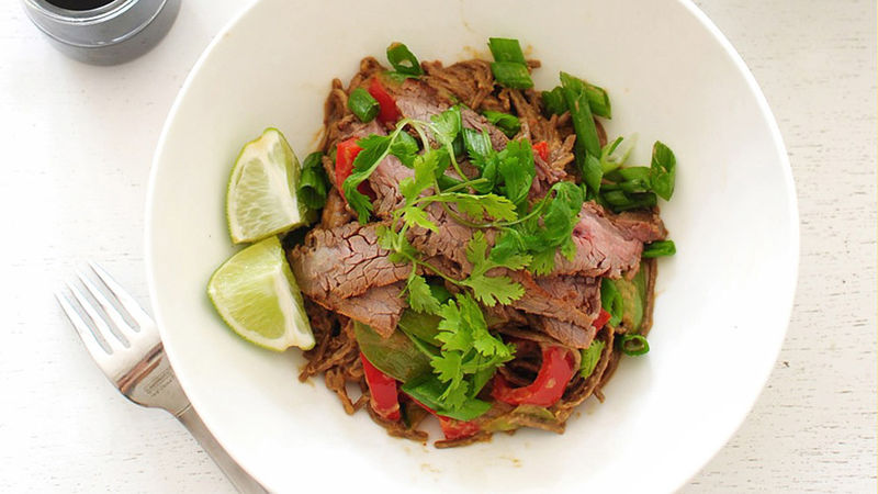 Peanut Soba Noodles with Steak
