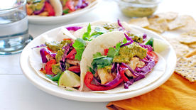 Fish Tacos with Chimichurri Sauce