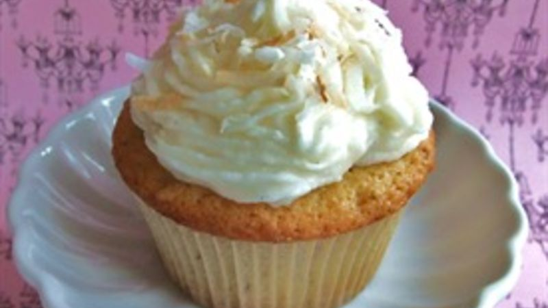 Voluptuous Vanilla Bean-Coconut Cupcakes