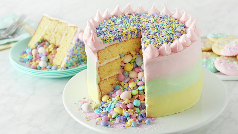 Surprise-Inside Easter Candy Layer Cake