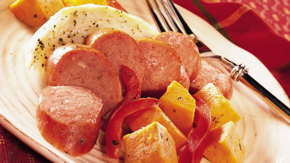 Turkey Kielbasa with Cabbage and Sweet Potatoes