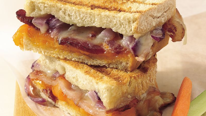 Grilled Double Cheese And Bacon Sandwiches Recipe