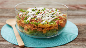 Cheddar Bacon Chicken Ranch Layered Salad