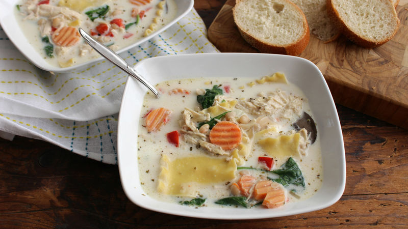 Slow-Cooker White Chicken Lasagna Soup