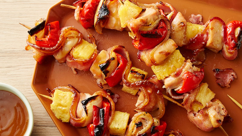 Bacon Pineapple Chicken Kabobs