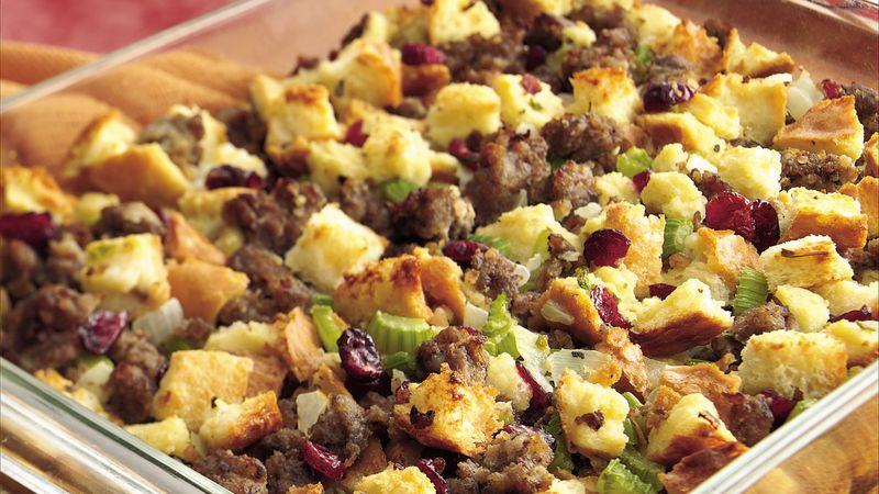 Sausage And Cranberry Baked Stuffing Recipe Bettycrocker Com