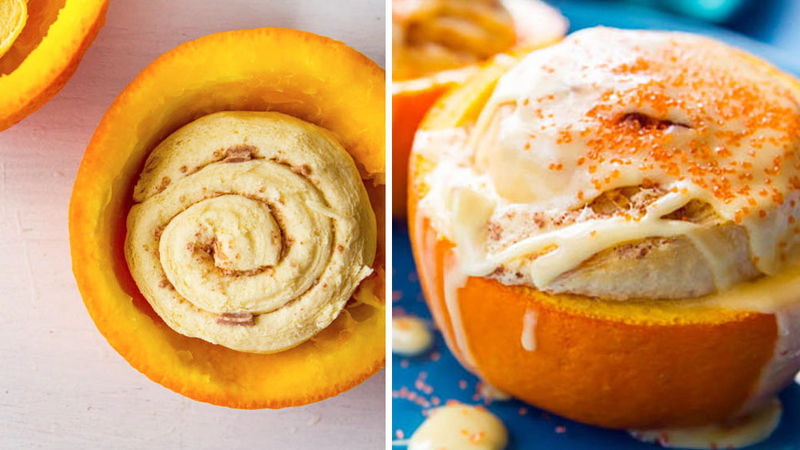 Orange Cinnamon Rolls Baked in Oranges