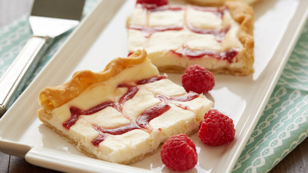 Lemon-Raspberry Cheesecake Slab Pie recipe from Pillsbury.com