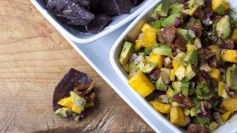 Mango and Avocado Salsa with Spicy Bacon