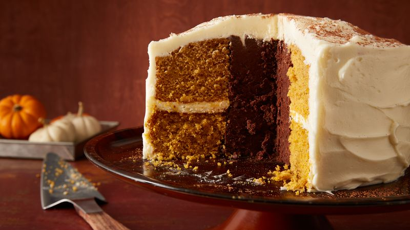 Inside-Out Chocolate Truffle Pumpkin Cake