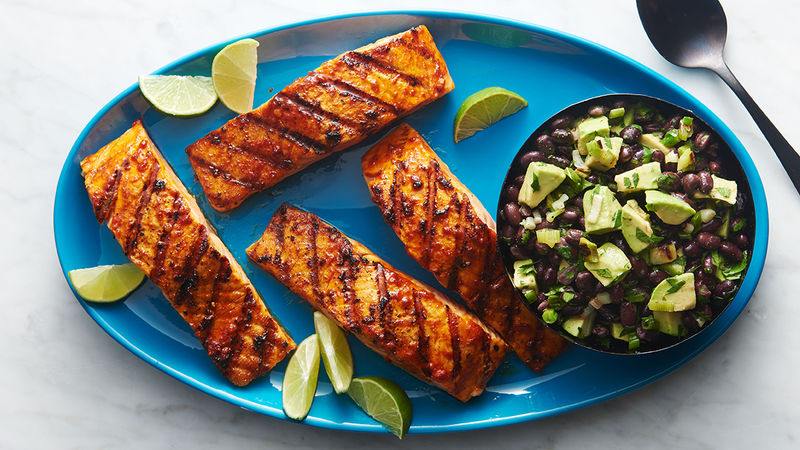 Mexican Salmon with Black Beans and Avocado Salsa