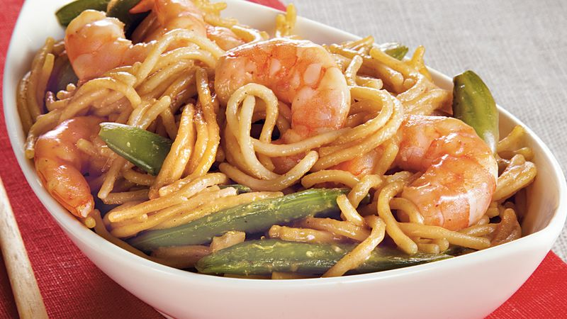 Shrimp and Sugar Peas Lo Mein