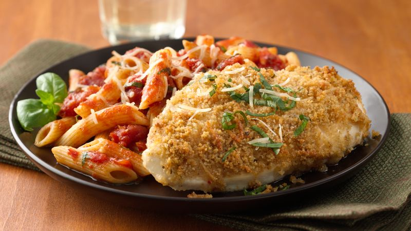 Oven Parmesan Chicken with Penne Marinara