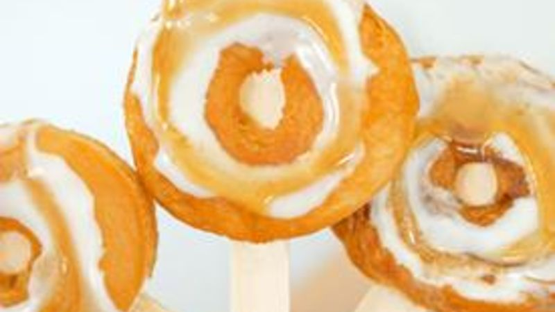 Salted Caramel Crescent Donuts on a Stick
