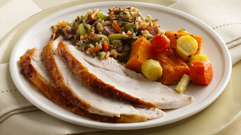 Maple-Glazed Turkey with Wild Rice Stuffing