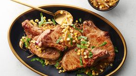 Whiskey Butter Pork Chops with Corn