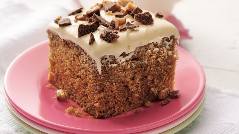Coffee Toffee Cake With Caramel Frosting Recipe Bettycrocker