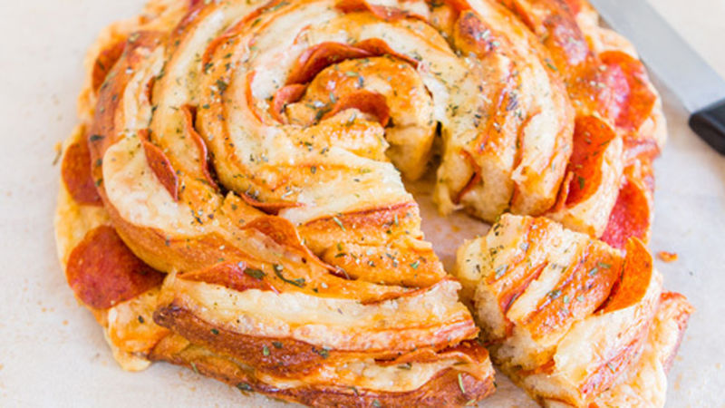 Swiss Cheese and Pepperoni Spiral